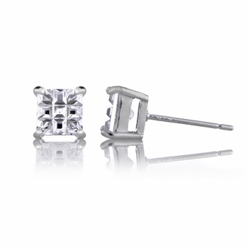 Dallas' Checkerboard Square Cut Stud Earrings
