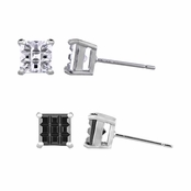 Dallas' Checkerboard Stud Earrings Set of 2 - Clear & Black