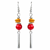 Dallas' Amber and Red Beaded Dangle Earrings