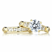Dao's Goldtone CZ Wedding Ring Set