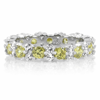 Dara's Clear & Canary CZ Eternity Ring Band