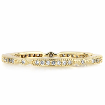 Darby's Art Deco CZ Wedding Ring Band - Goldtone