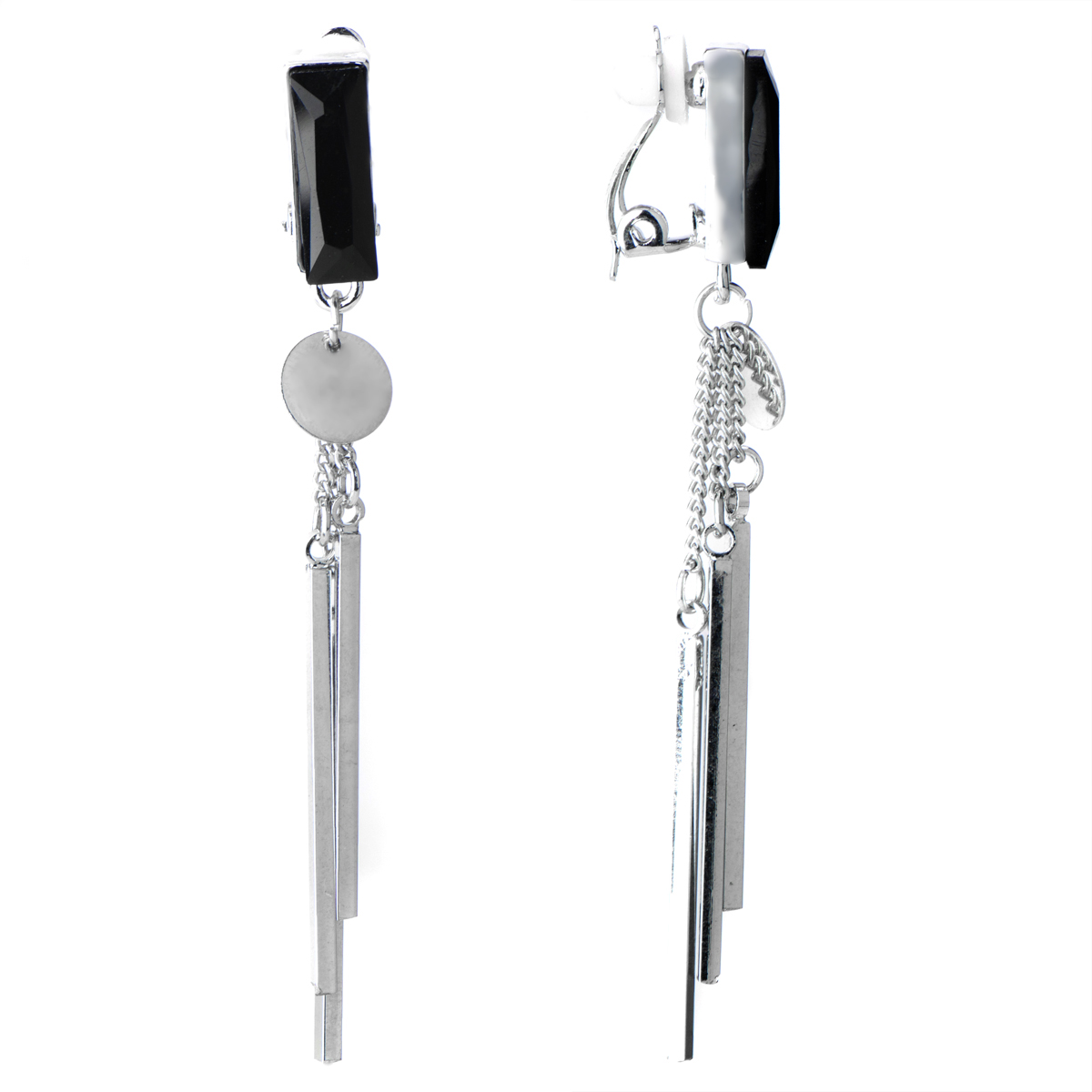 Darcy's Silvertone Rectangle Fringe Dangle Clip On Earrings Roll Off Image  To Close Zoom Window