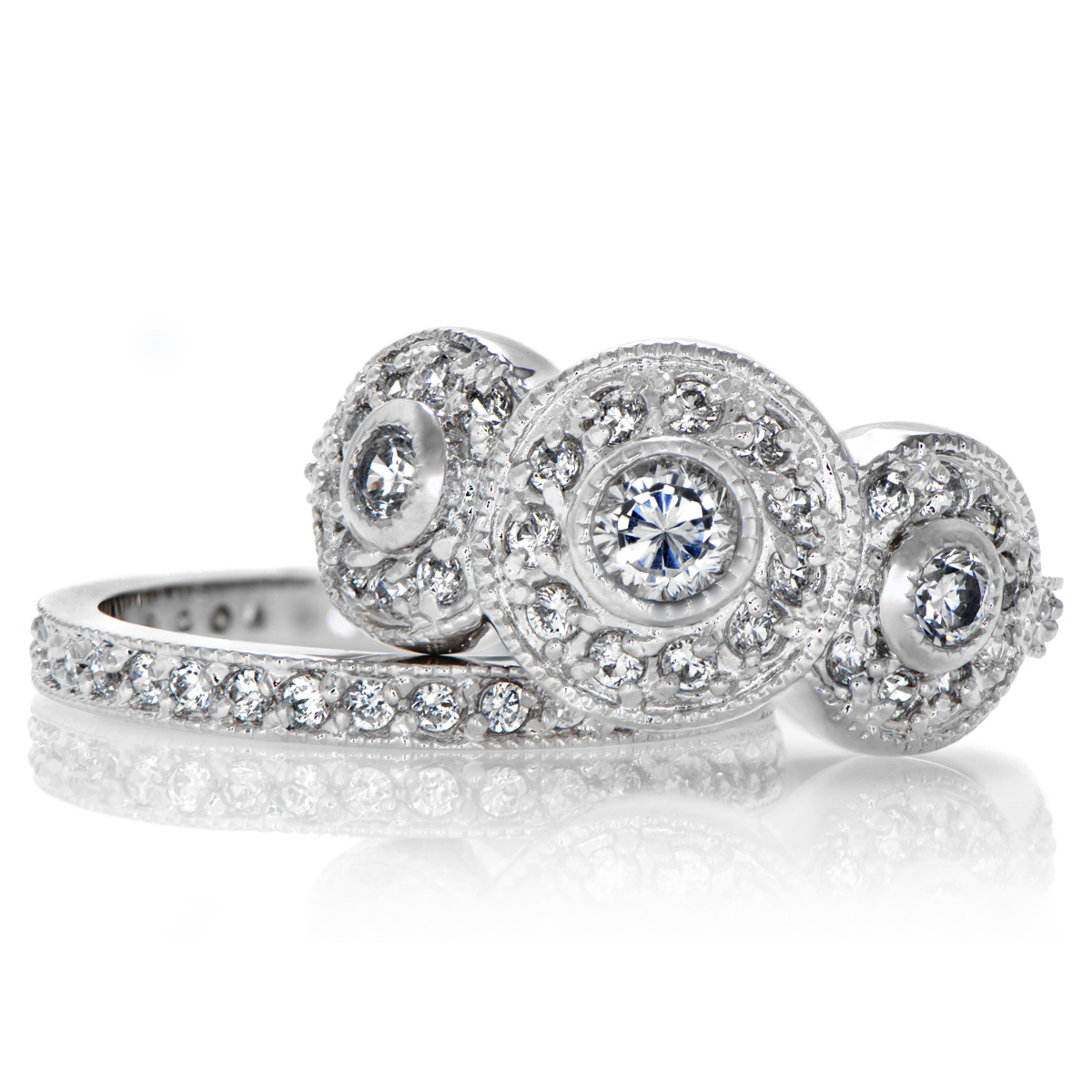 Vintage style wedding sets mature milf for Vintage wedding rings sets
