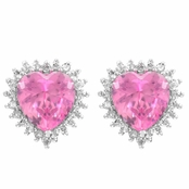 Darling's Pink Heart Shaped Post Earrings