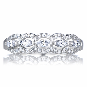 Dauphne's Marquise Cut CZ Art Deco Wedding Ring Band