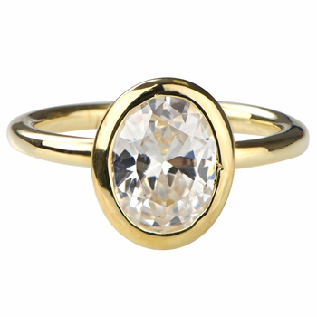 Davina's Oval Cut CZ Engagement Goldtone Ring
