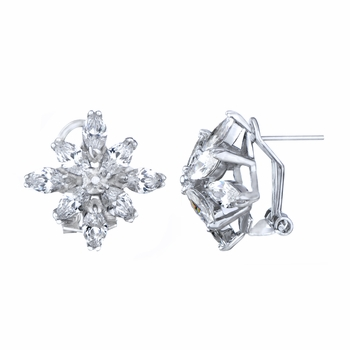 Dawn's Silvertone Cubic Zirconia Floral Stud Earrings