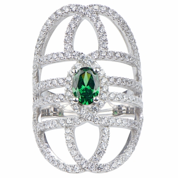 Daya's Green and Clear CZ Art Deco Cocktail Ring