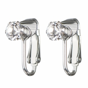 Deena's Silvertone Clear CZ Imitation Birthstone Clip On Earrings