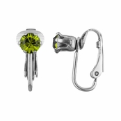 Deena's Silvertone Green CZ Imitation Birthstone Clip On Earrings