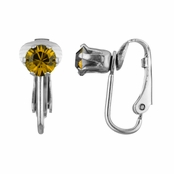 Deena's Silvertone Yellow CZ Imitation Birthstone Clip On Earrings
