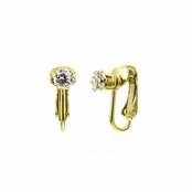 Deena's Goldtone Clear CZ Imitation Birthstone Clip On Earrings