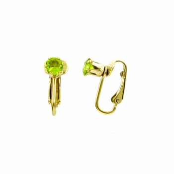 Deena's Goldtone Green CZ Imitation Birthstone Clip On Earrings