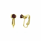 Deena's Goldtone Dark Red CZ Imitation Birthstone Clip On Earrings