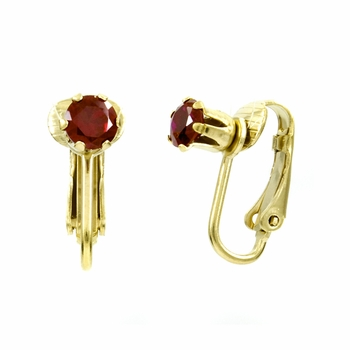 Deena's Goldtone Red CZ Imitation Birthstone Clip On Earrings