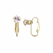 Deena's Goldtone Pink CZ Imitation Birthstone Clip On Earrings