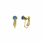 Deena's Goldtone Light Blue CZ Imitation Birthstone Clip On Earrings