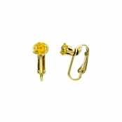 Deena's Goldtone Yellow CZ Imitation Birthstone Clip On Earrings