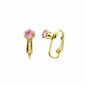 Deena's Goldtone Magenta CZ Imitation Birthstone Clip On Earrings