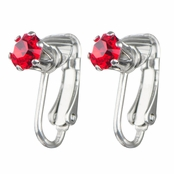 Deena's Silvertone Red CZ Imitation Birthstone Clip On Earrings