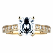 Goldtone Asscher Cut CZ Engagement Ring