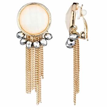 Deidre's White and Goldtone Fringe Dangle Clip On Earrings