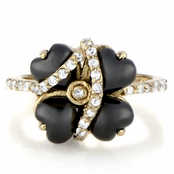 Designer Inspired Flower Ring - Black and Goldtone