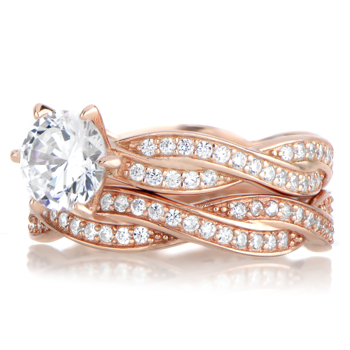 Devera s Rose Gold CZ Twisted Wedding Ring Set