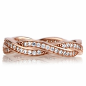 Devera's Rose Gold Twisted CZ Wedding Ring Band