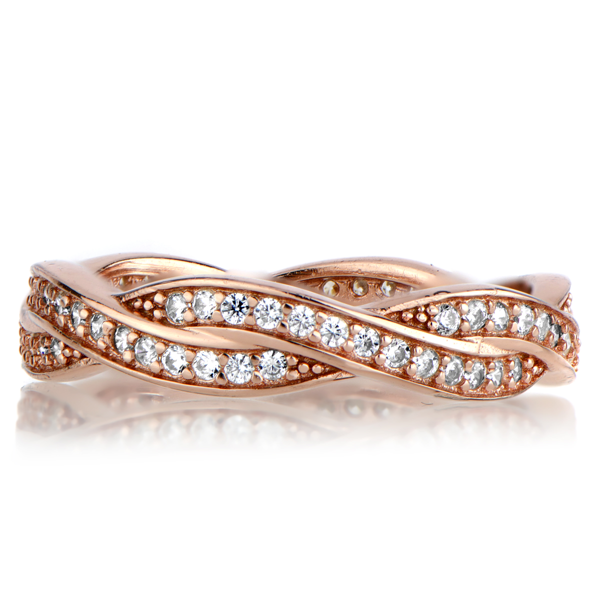 Rose Gold Twisted CZ Wedding Ring Band