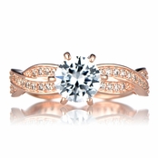 Devera's Twisted CZ Engagement Ring - Rose Goldtone
