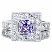 Diona's Princess Cut Purple CZ Wedding Ring Set
