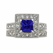 Diona's Princess Cut Blue CZ Wedding Ring Set