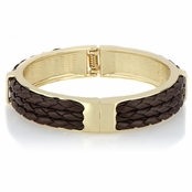 Dolly's Brown Leather Braided Bangle Bracelet