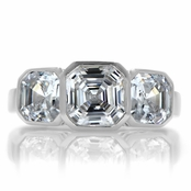 Dorisha's Three Stone Asscher Cut CZ Ring