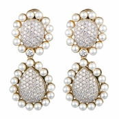 Dot's Goldtone Pave CZ & Imitation Pearl Dangle Earrings