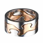 Drina's Two Tone Puzzle Ring - Rose Gold and Silver