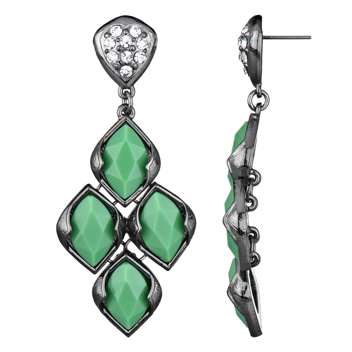 Drita's Gunmetal Green Chandelier Earrings