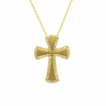 Dublin's Matte Goldtone CZ Cross Necklace