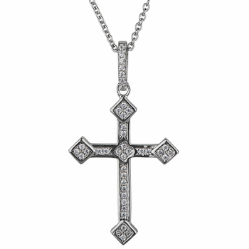 Ebony's Cubic Zirconia Cross Pendant Necklace