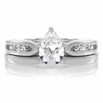 Edie's Petite Pear CZ Wedding Ring Set