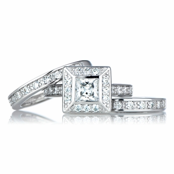 Princess Cut CZ Triple Wedding Ring Set