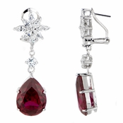 Elenora's Red CZ Cluster Dangle Earrings