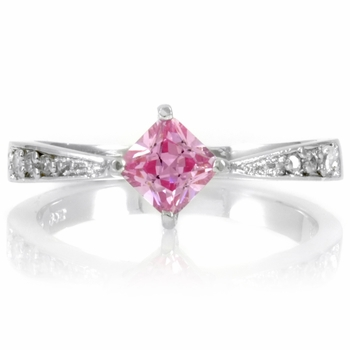 Elisa's Pink Princess Cut CZ  Promise Ring