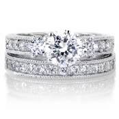 Elissa's Pave CZ Wedding Ring Set - 1.5 Carat