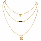 Eliza's Triple Layered Goldtone Charm Necklace