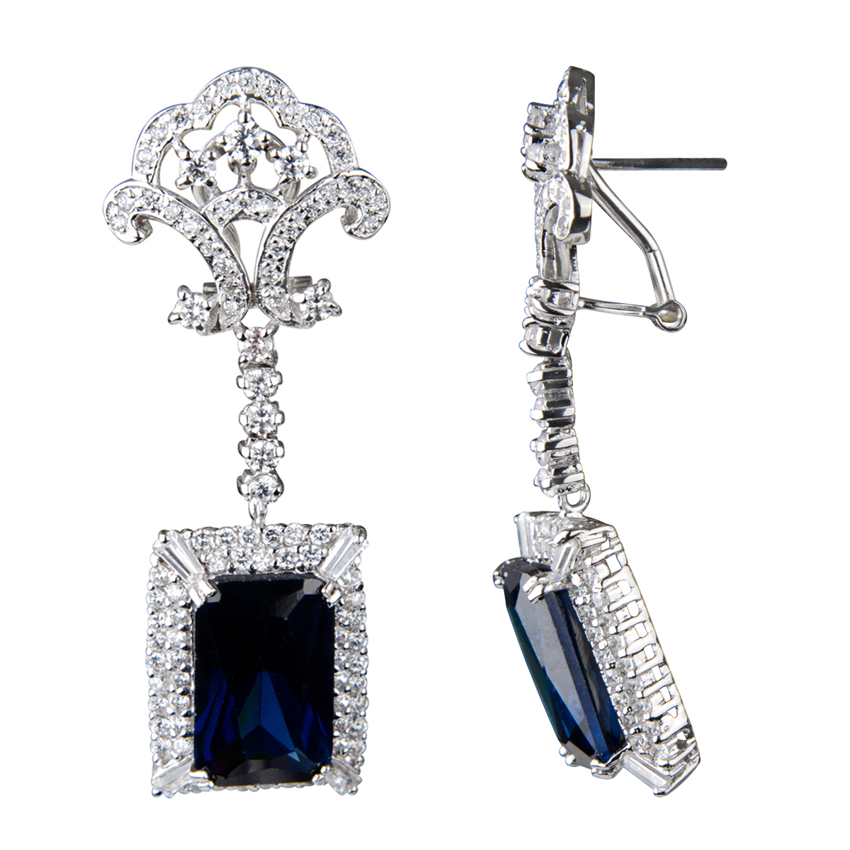 Elizabeth's Estate Jewellery Collection: Simulated Sapphire Drop Earrings   Emerald Cut French Back