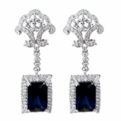 Elizabeth's Estate Jewellery Collection: Simulated Sapphire Drop Earrings - Emerald Cut French Back