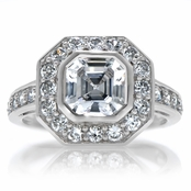 Ella's Bezel Set Asscher with CZ Border Ring
